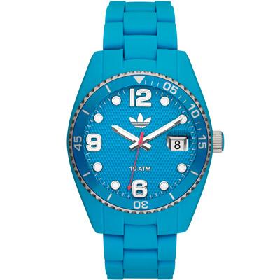 adidas Brisbane 彩色搖滾格紋矽膠腕錶-水藍色 /42mm