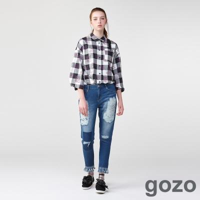 gozo龐克壞個性牛仔窄管褲(淺藍) -動態show