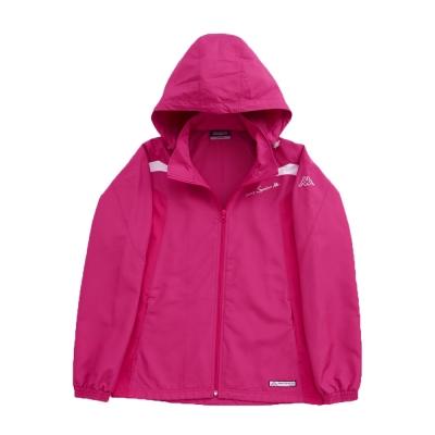KAPPA義大利 女吸濕排汗速乾竹炭風衣外套(可拆帽) 櫻桃紅 白