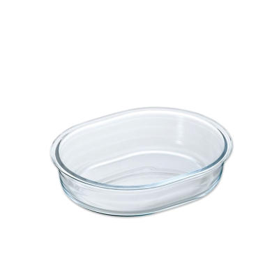 【ADERIA】日本進口耐熱玻璃橢圓薄型烤盤(中)