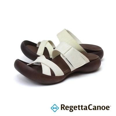 RegettaCanoe-交叉皮革鞋面 可調式樂步鞋-象牙白