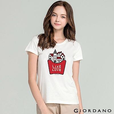 GIORDANO 女裝純棉Life印花T恤-53 標誌白