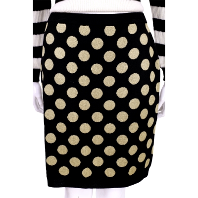 BOUTIQUE MOSCHINO 黑色金蔥圓點針織及膝裙(100%LANA)