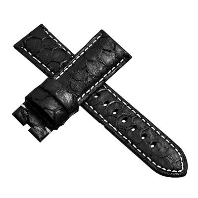 【手表達人】Panerai 沛納海代用進口錶帶-鱷魚紋/黑白/24mm