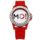 MORGAN 爵士讚歎晶鑽時尚腕錶-銀X紅/40mm