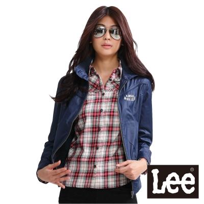 Lee-尼龍外套-前拉鍊高領-女款-藍