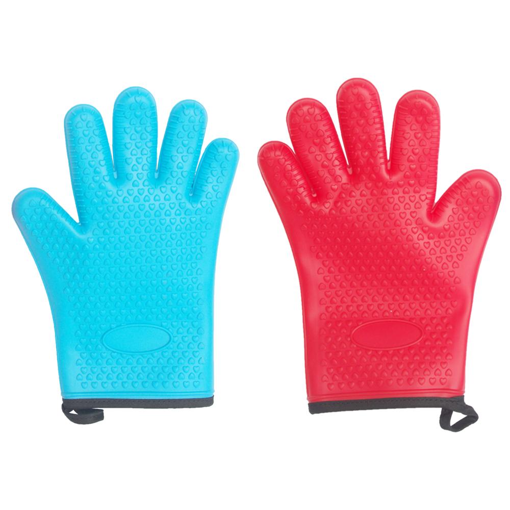 烘焙必備 雙層耐高溫矽膠五指手套一個 藍/紅 隨機出貨