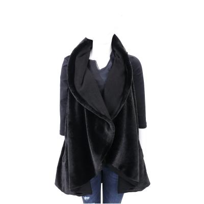 MARELLA 黑色天鵝絨兩穿雙面翻領背心
