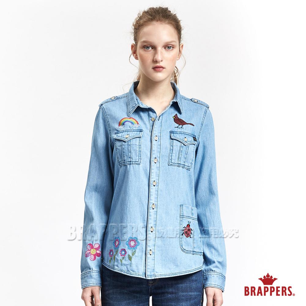 BRAPPERS女款Boy Friend系列-女用繽紛花園童趣刺繡襯衫-淺藍