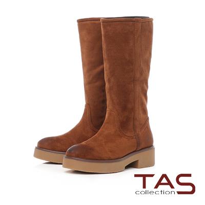 TAS 復古擦色素面絨布厚底長靴-焦糖棕