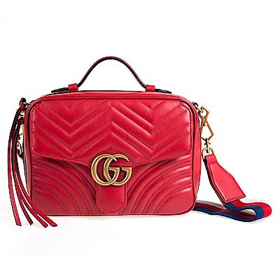 GUCCI GG Marmont 山型絎縫皮革肩背/手提兩用包 (芙蓉紅)