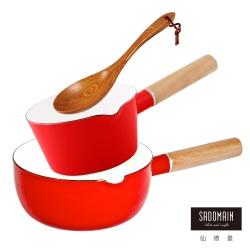 仙德曼 SADOMAIN  琺瑯牛奶鍋(紅)+琺瑯雪平鍋(紅)+原木手工菜匙-三件組