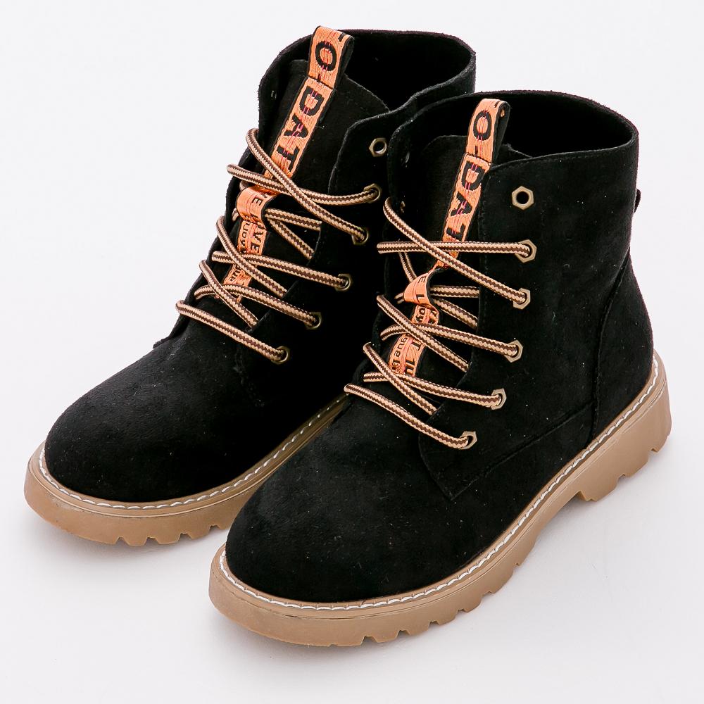 River&Moon短靴-經典麂絨繫帶縫線沙漠短靴-黑