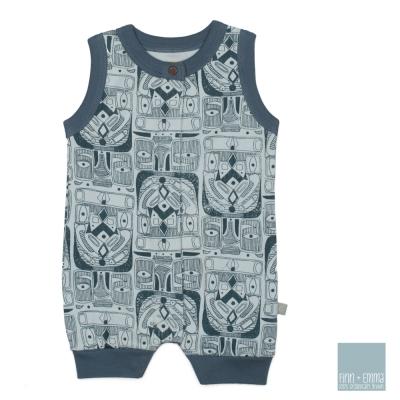 美國 FINN & EMMA 有機棉無袖連身衣 (圖騰Boy)