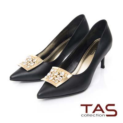 TAS-水鑽金屬飾釦羊皮高跟鞋-注目黑