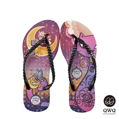 QWQ夾拖的創意(女)-Moon Night&Cat腳拖鞋-黑