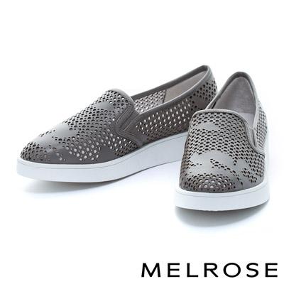MELROSE-潑墨造型全真皮打洞厚底休閒鞋-灰