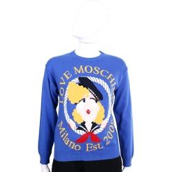 LOVE MOSCHINO 藍色水手女孩圖案針織長袖上衣