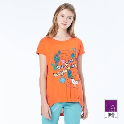 ILEY伊蕾 俏皮休閒縫飾印花上衣(桔)