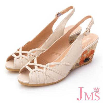 JMS-氣質典雅曲線印染楔型跟涼鞋-米色