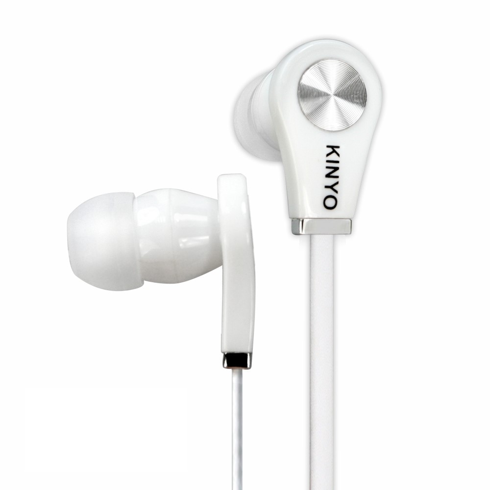KINYO 白色耳道式耳機EMP-50-W加購KINYO手電筒LED-509