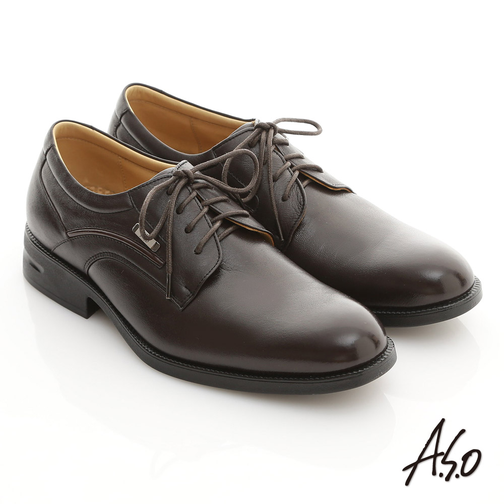 A.S.O 頂級氣墊系列 綿羊皮綁帶奈米紳士鞋 咖啡