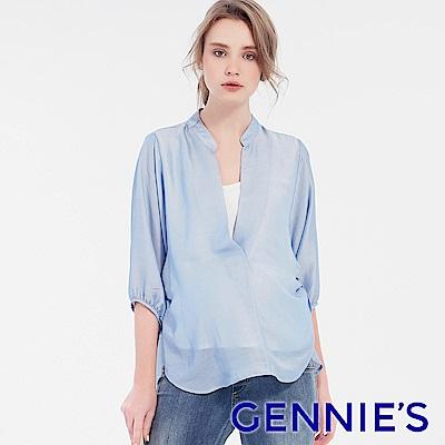 Gennies專櫃-天絲涼感立領哺乳衣(T3F11)水藍
