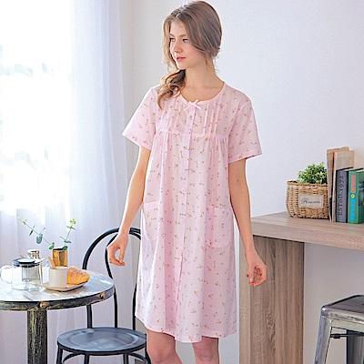 睡衣 精梳棉小碎花平織短袖連身睡衣(R75020-2夢幻粉) 蕾妮塔塔