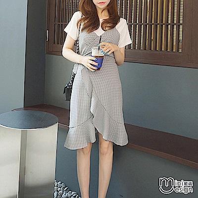 格紋荷葉邊洋裝+白T恤 兩件式套裝-mini嚴選