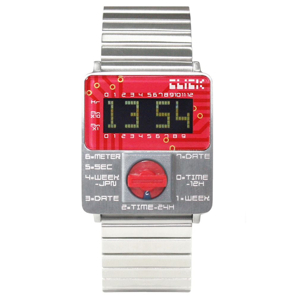 CLICK TURN 創意電路板個性電子腕錶-銀鋼紅