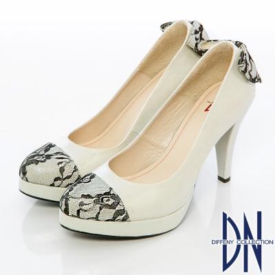 DN 精緻手工 蕾絲蝴蝶結金蔥高跟鞋 銀