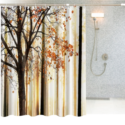 180x180cm 秋楓瑟瑟防潑水浴簾(一個)+不鏽鋼伸縮桿(一支)