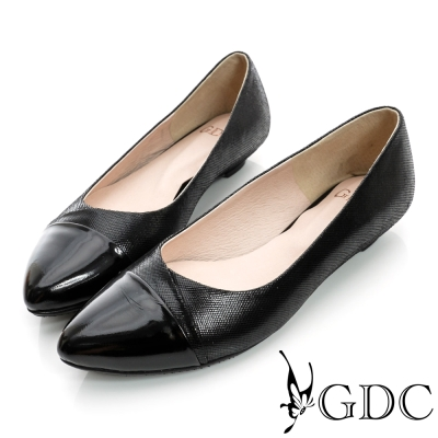GDC典雅-細格紋拼接尖頭真皮低跟鞋-黑色