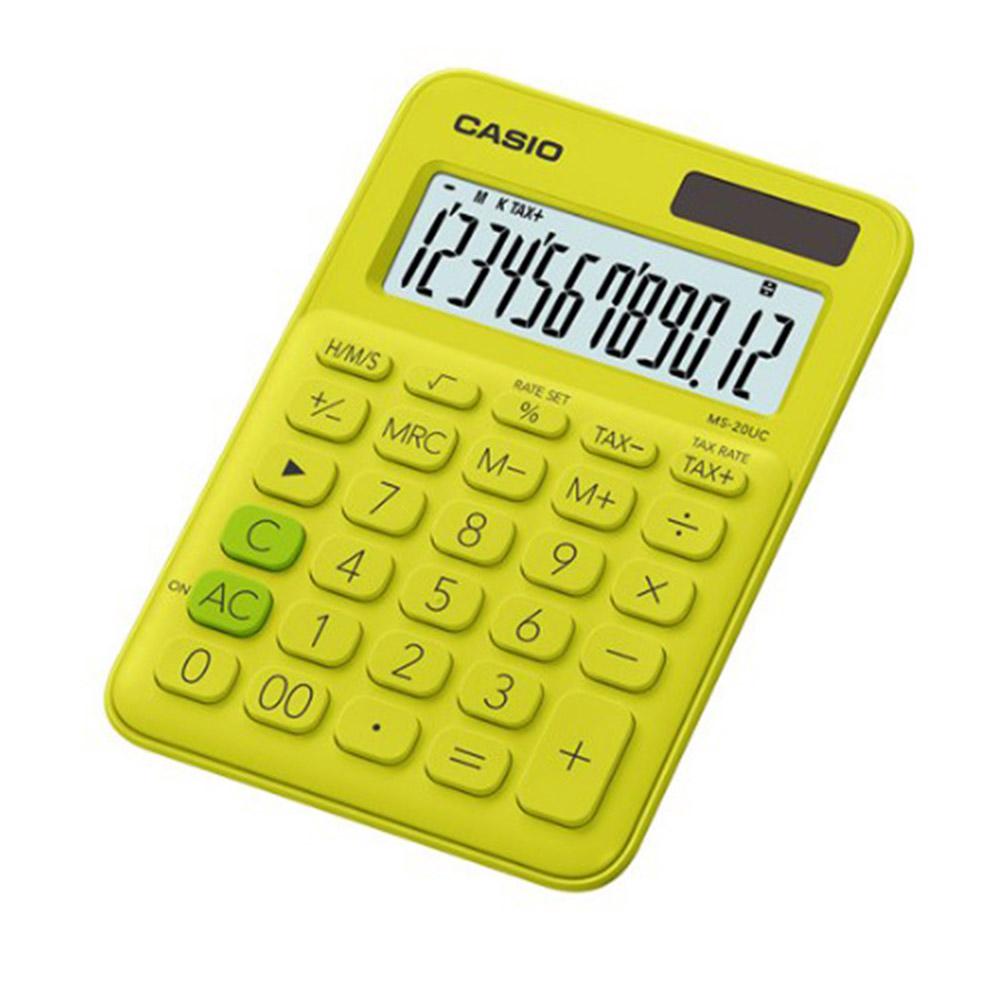 CASIO 12位元繽紛馬卡龍色系便利型計算機 芥末黃 MS-20UC-YG