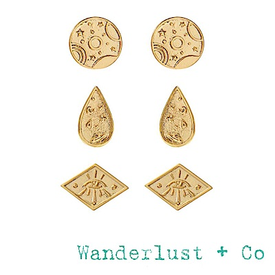 Wanderlust+Co 澳洲品牌 古典銀河星系耳環 金色耳環三件套組 GALAXY