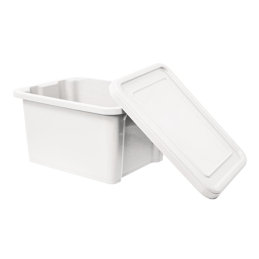 【創意達人】繽紛白宮萬用附蓋收納置物箱(28L)-2入
