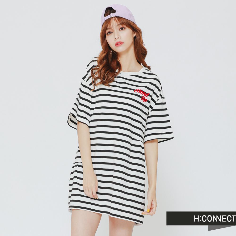 H:CONNECT 韓國品牌 女裝-條紋印字腰間設計長板T-白
