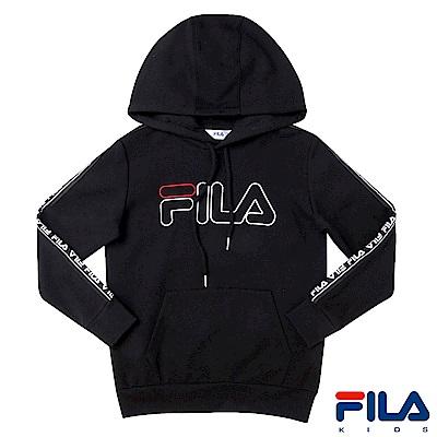 FILA KIDS #東京企劃 長袖連帽T恤-黑1TES-4451-BK