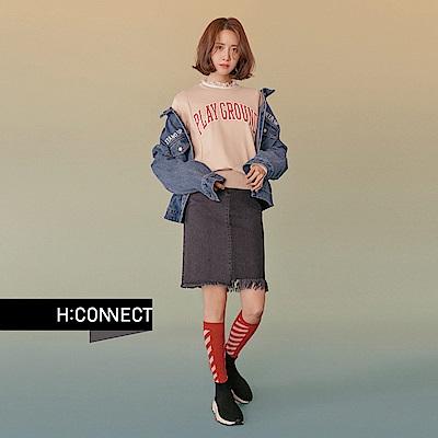 H:CONNECT 韓國品牌 女裝 - 破壞抽鬚中長牛仔裙 - 黑