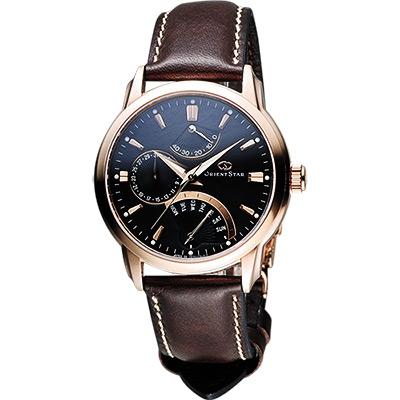 ORIENT 東方錶 RETROGRADE系列星期逆跳機械錶-黑x咖啡/40mm