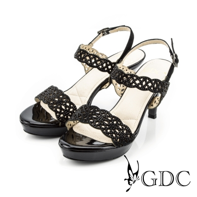 GDC-性感水鑽寶石沖孔側扣帶一字真皮高跟涼鞋-黑色