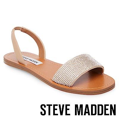 STEVE MADDEN-ROCK-水鑽寬版一字帶涼鞋-米色