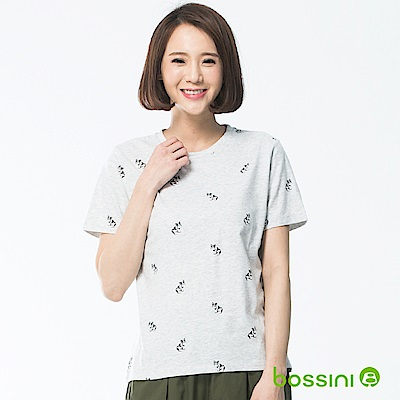 bossini女裝-印花圓領短袖上衣01淡灰