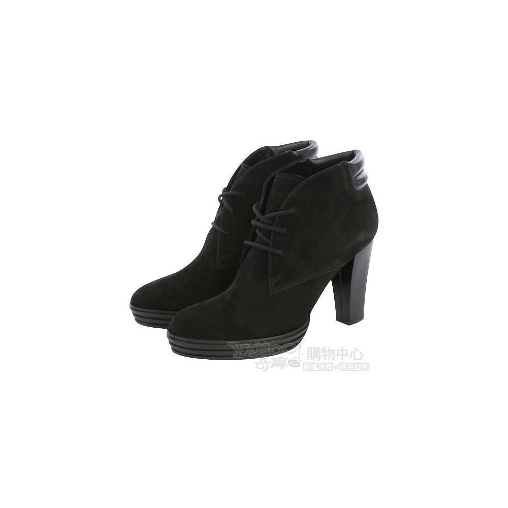 HOGAN 黑色麂皮綁帶造型高跟短靴(40號)