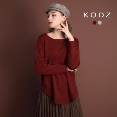 東京著衣-KODZ 休閒質感下擺圓弧針織上衣-S.M.L(共二色)