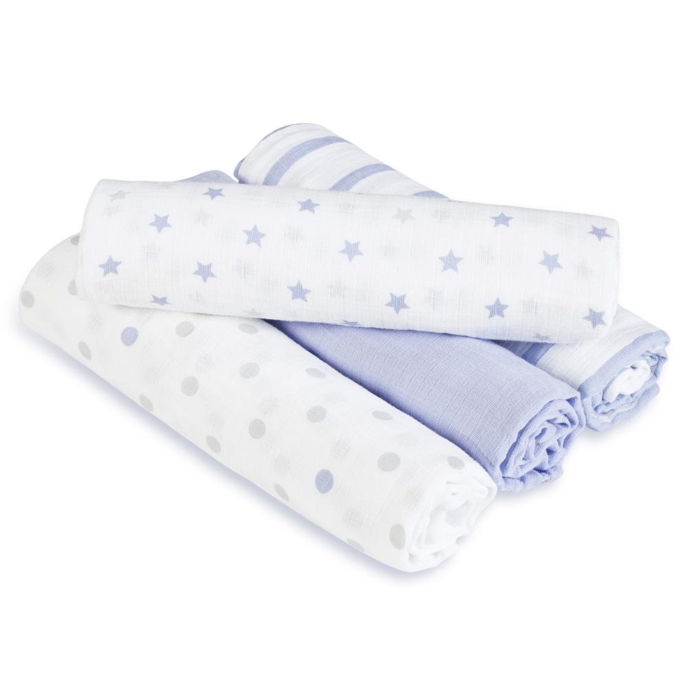 【美國aden+anais】新生兒外出包巾(4入)-紫星星系列AA-S113