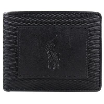 Ralph Lauren 酷炫馬刻紋橫式3卡短夾(黑)