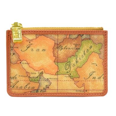 Alviero Martini 義大利地圖包 拉鍊2卡零錢包-地圖黃