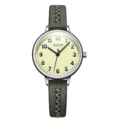JULIUS聚利時 編織幸福簡約時尚腕錶-軍綠色/29mm