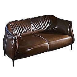 AT HOME-工業風設計實木骨架咖啡色皮革雙人沙發(150*8